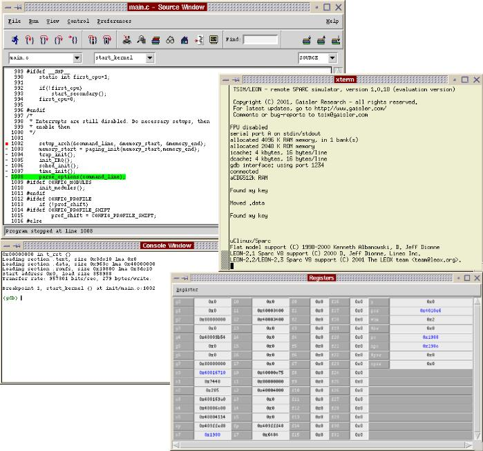 typical debug session of the uClinux/Sparc port using insight/GDB and TSIM